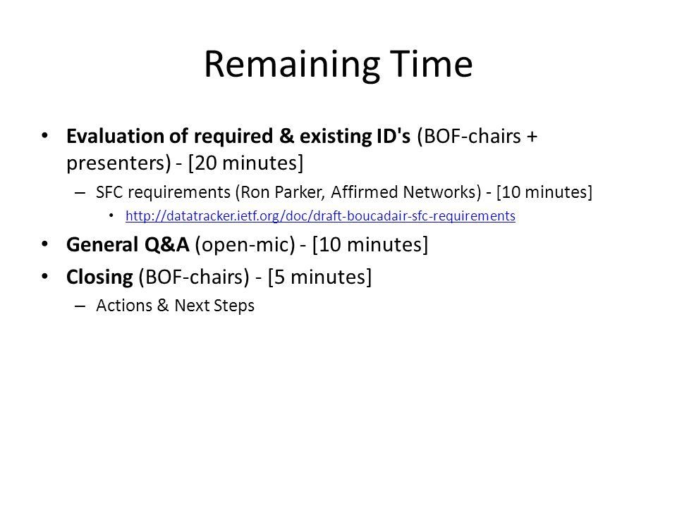 Remaining Time Evaluation of required & existing ID s (BOF-chairs + presenters) - [20 minutes]